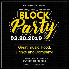 Black Block Party Social Media Invite Instagram Post template