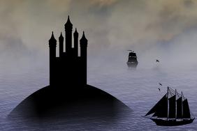 black boats silhouette and black castle - faitytale, mideval