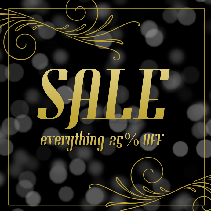 Black bokeh glamouous gold instagram sale post template