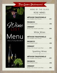 Black box wine menu flyer template