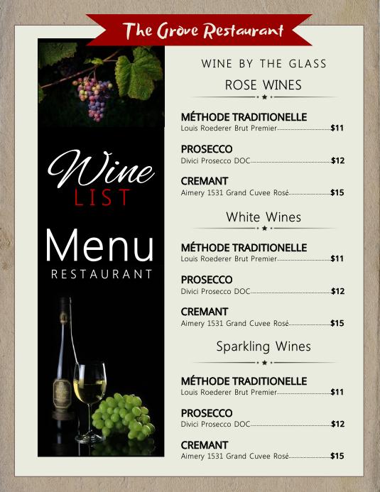 Black box wine menu flyer Pamflet (Letter AS) template
