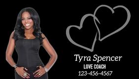 black business card hearts love Tarjeta de Presentación template