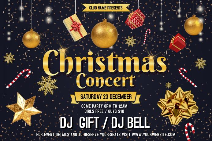 Black Christmas Concert Landscape Poster template