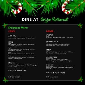 Black Christmas Menu Square Video