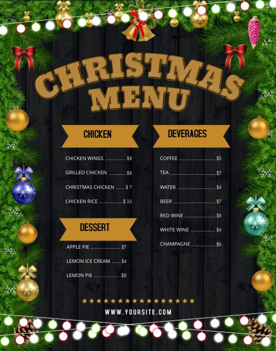Black Christmas Wallboard Menu Poster/Wallboard template