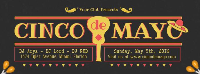 Black Cinco de Mayo Event Invitation Banner