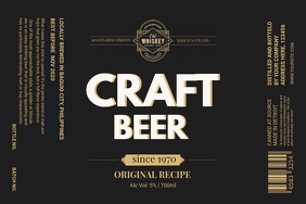 Black Craft Beer Label template
