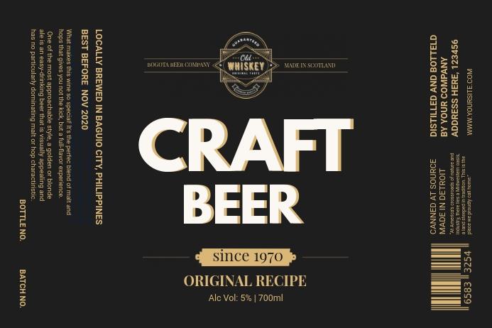 Black Craft Beer Label Etiket template