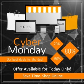 Black Cyber Monday Square Video