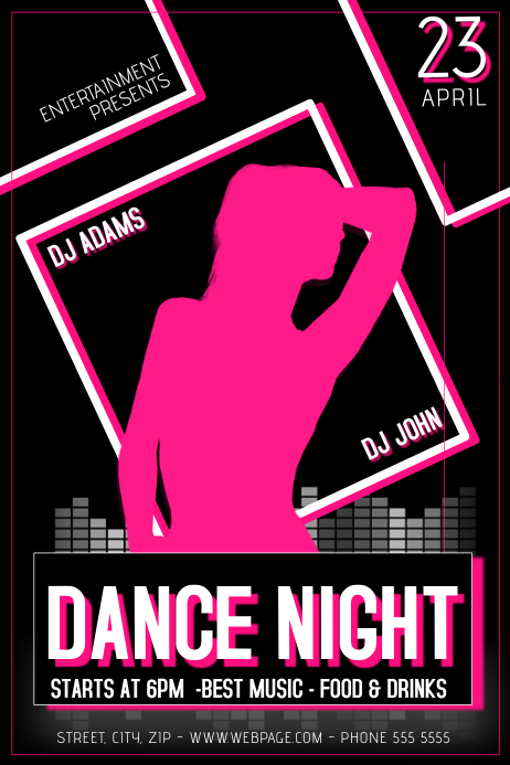 black dance night party flyer template