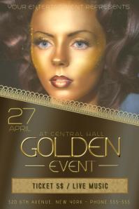 black dark gold golden beauty concert band fashion event flyer template