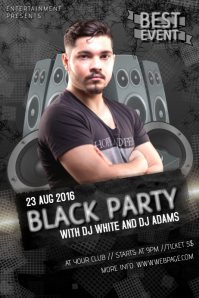 black dj party event club bar flyer template