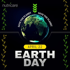 Black Earth Day Square Video template