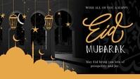 Black Eid Mubarak Wish Facebook Cover Video template