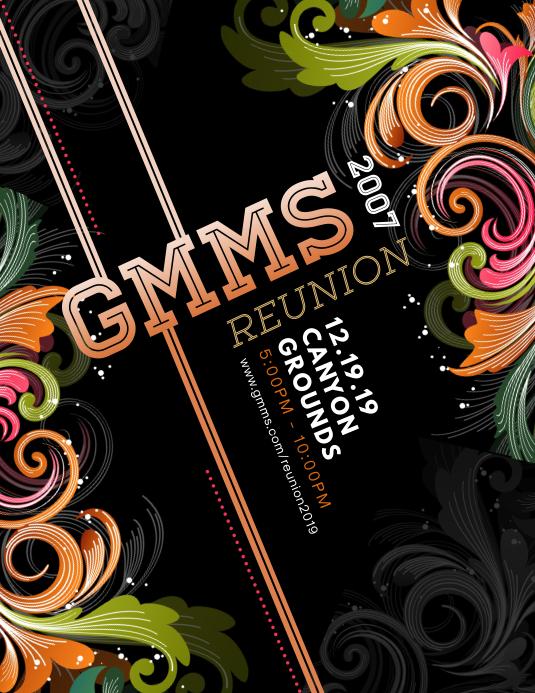 Black floral University Reunion Flyer Invite