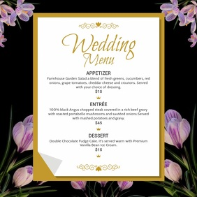 Black Floral Wedding Menu Square Video