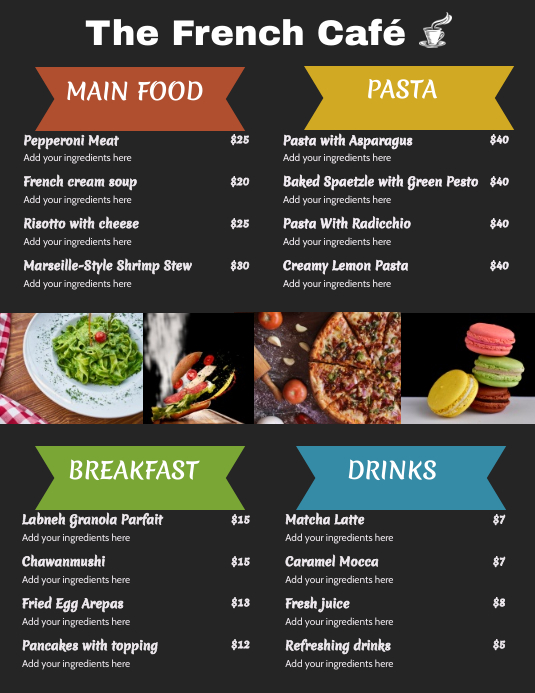Black French Cafe Menu Template