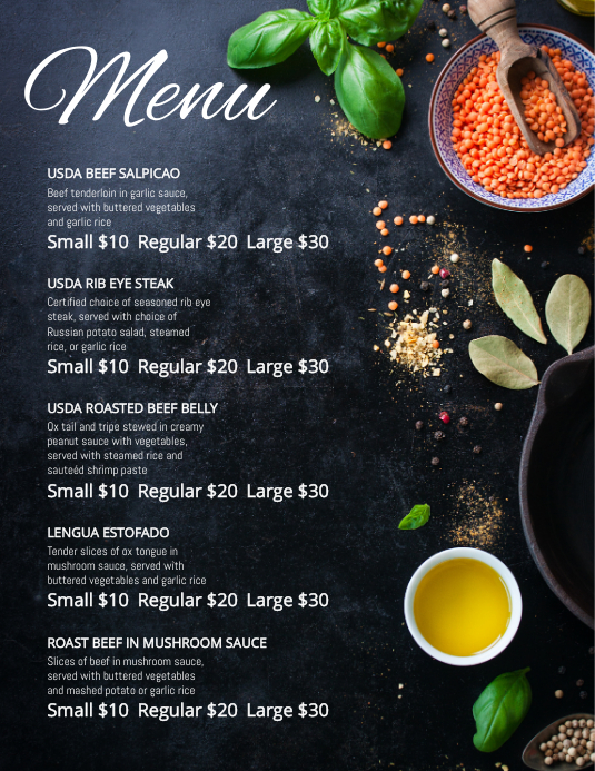 Black French Cafe Menu Template Postermywall