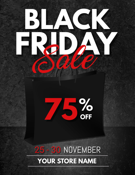 black friday, black friday sale Flyer (US Letter) template