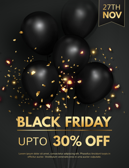 black friday, black friday sale Flyer (Letter pang-US) template