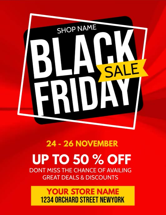 black friday, black friday video Flyer (US Letter) template
