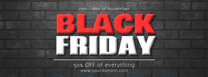 Black Friday % Off Sale Header Banner Promo template