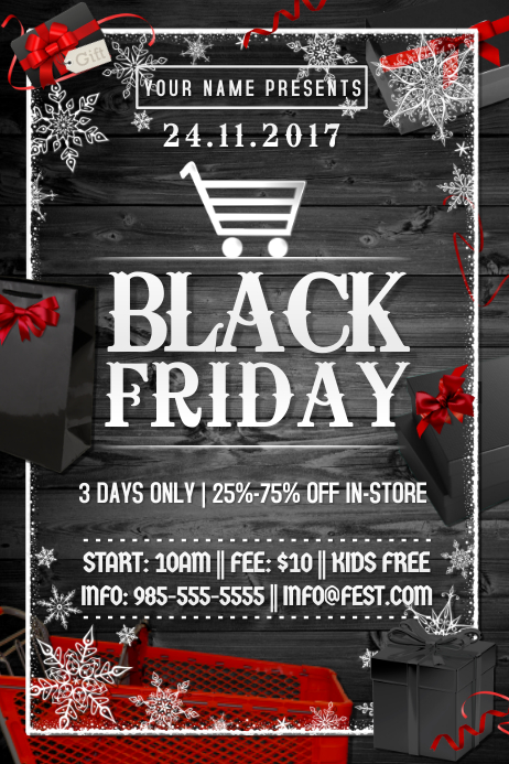 Black Friday Box Gift Discount Holiday Sale Business Promo Template Postermywall