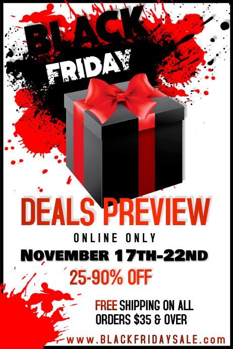 Black Friday Boxing Red Gift Sale Promo Ad Business Present 海报 template