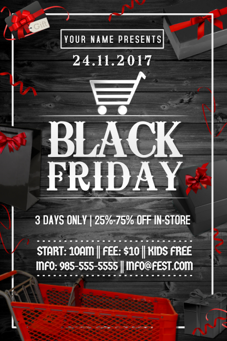 Black Friday Boxing Sale Discount Promo Business Store Ad