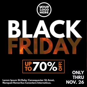 Black Friday Burning Fire bold letters flyer