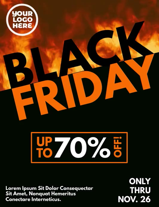 Black Friday Burning Fire Flames Video Flyer template