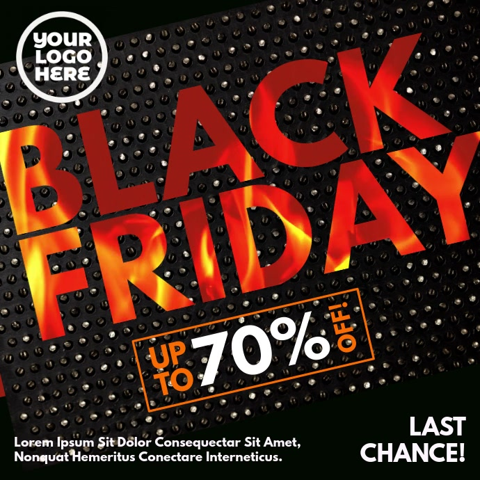 Black Friday Burning Fire Letters Instagram 帖子 template