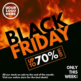 Black Friday Burning Fire Slant โพสต์บน Instagram template