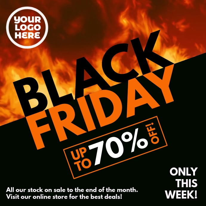 Black Friday Burning Fire Slant Instagram 帖子 template