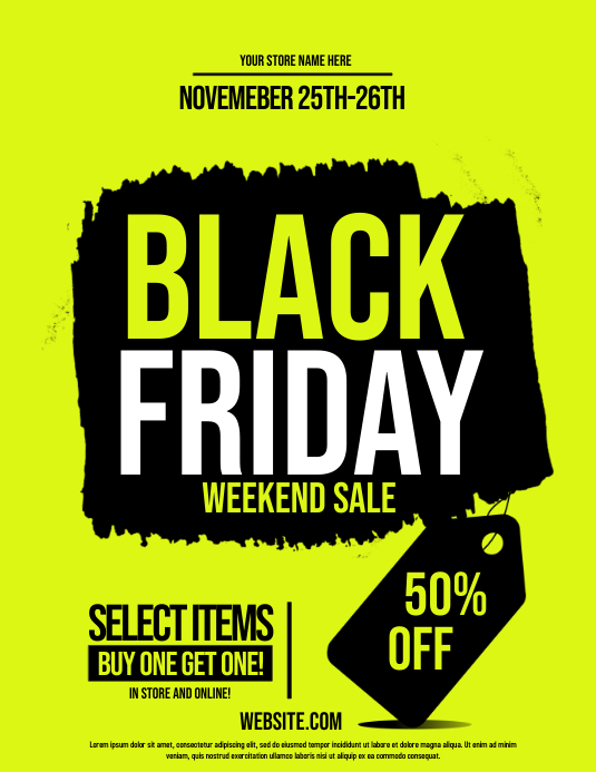 black friday Volante (Carta US) template