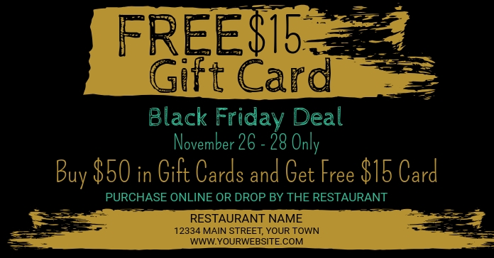 Black Friday Gift Card Promotion Facebook Advertensie template