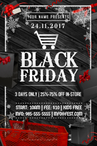 Black Friday Holiday Boxing Black Wood Red Gift Snow Present
