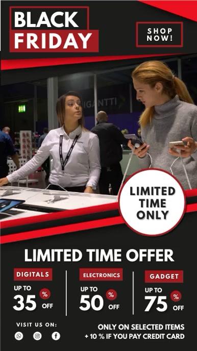 Black Friday Limited Offer Digital Display Ekran reklamowy (9:16) template