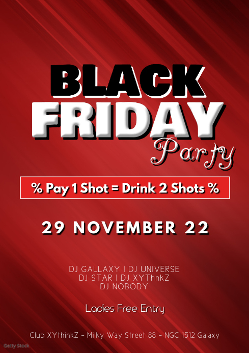 Black Friday Party Drinks offer Special sale A4 template