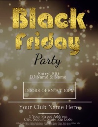 Black Friday Party Video Flyer Template Løbeseddel (US Letter)