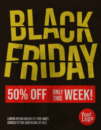Black Friday Price Cut Flyer with Grunge