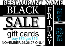 Black Friday Restaurant Gift Card Postcard Ad Postkort template