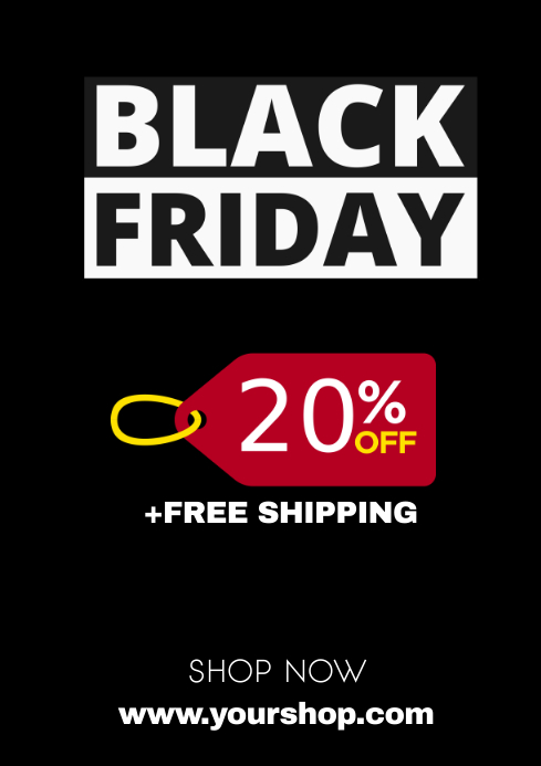 Black Friday Sale Advert Promotion Gift Store A4 template