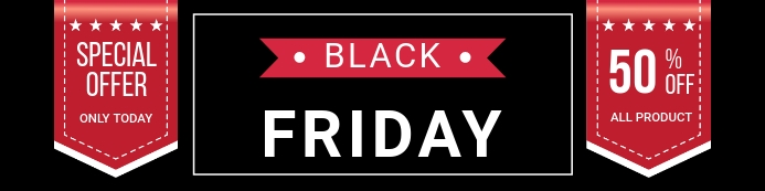 Black Friday Sale Banner Template 横幅 2' × 8'