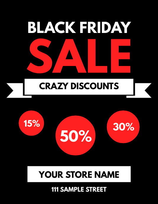 Black Friday Sale Crazy Discounts Flyer Template Postermywall