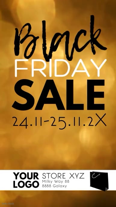 Black Friday Sale Discount video gold ad Instagram na Kuwento template