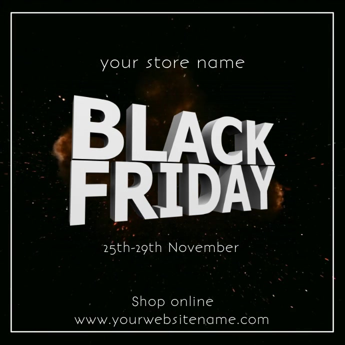Black Friday Sale Explosion Advert Video Ad Square (1:1) template