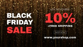 Black Friday Sale Glitter Gold Glam Video Ad Facebook-omslagvideo (16:9) template