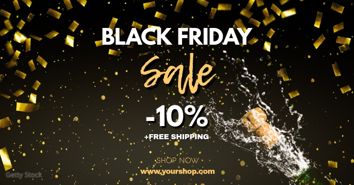 Black Friday Sale Gold Header Cover Shop Ad Facebook 广告 template