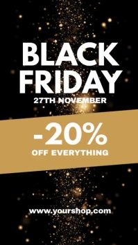 Black Friday Sale Video Gold Flyer Shop Ad Instagram 故事 template
